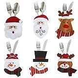 LAEMILIA Weihnachten Bestecktaschen Geschirrhalter Besteckhalter 6pcs Weihnachtsmann Schneemann Tischdeko Besteckbeutel Party Weihnachtsgeschenk (6pcs)