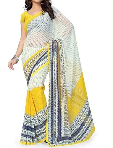 Vedant Georgette Saree (Yellow Cream_Yellow)