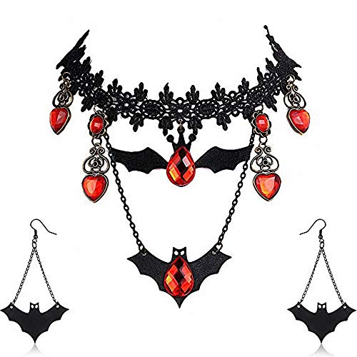 Amupper Halloween Fledermaus Halskette Ohrringe Set Schwarz Fledermaus -