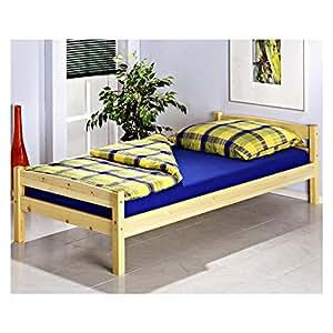 Lit simple lit enfant lit adulte cadre de lit BORIS 90 x 200 cm pin vernis naturel