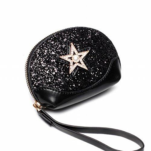 brieftasche mode Mini pailletten Sterne Muscheln tasche handtasche handtasche Schwarz