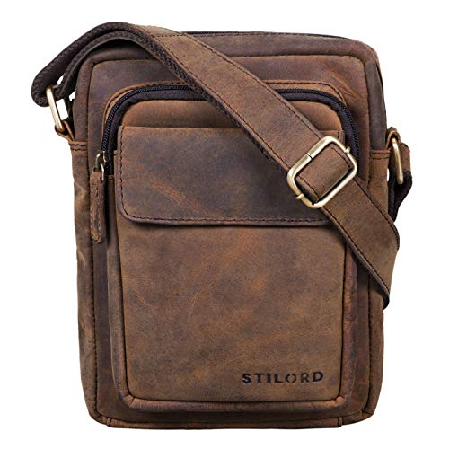 STILORD \'Jannis\' Leder Umhängetasche Männer klein Vintage Messenger Bag Herren-Tasche Tablettasche für 9.7 Zoll iPad Schultertasche aus echtem Leder, Farbe:Colorado - braun