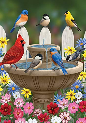 ASKYE Birdbath Gathering Spring House Flag Floral Birds for Party Outdoor Home Decor(Size: 12.5inch W X 18 inch H) -