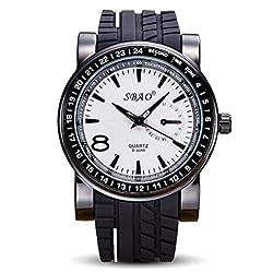OUMOSI Men Casual Quartz Watch Male Silicone Strap Wristwatch