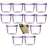 """'gouveo Bocaux à """"bocaux en verre carrés vides 230ml incl. Rouge Pivotant, bocaux, pots de confiture, fraîcheur, Verres, bocaux, avec couvercle, Deckel Weiß, 24 Gläser"""