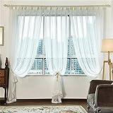 JIAJU Rustic Solid White Design All-Match Vorhang Tüll für Wohnzimmer Zimmer Küche Fenster Screening Panel 1St, 2 * 2.7m