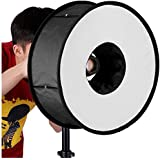 Neewer 45 cm Round Universal Collapsible Magnetic Ring Flash Diffuser Soft Box for Macro and Portrait Photography