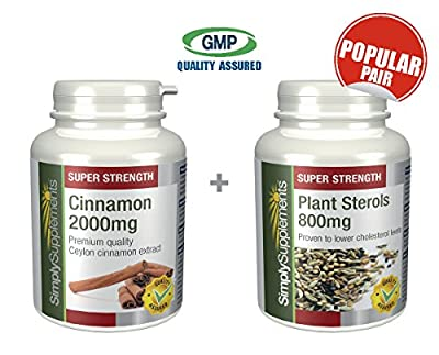 SimplySupplements Cinnamon 2000mg 120 Tablets + Plant Sterols 800mg 120 Tablets |Balanced Sugar & Cholesterol levels from Simply Supplements