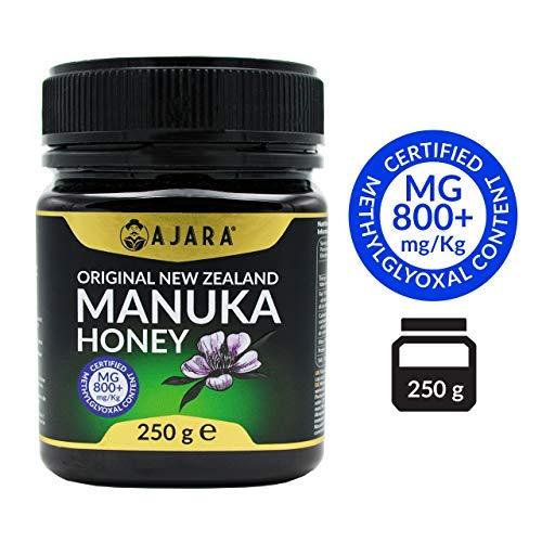 Miele di Manuka MG 800+ -Grezzo, Puro e Naturale al 100% Prodotto Certificato MGO Nuova Zelanda- Terapeutico Antivirale e cura della pelle -AJARA- 250g