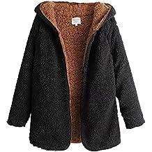 ZKOO Abrigo de Mujer Fleece Chaqueta con Capucha Espesar Suelto Prendas de Abrigo Cardigan Parkas Calentar