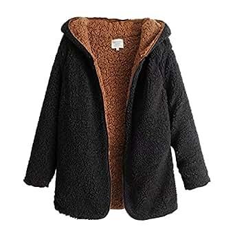 ZKOO Womens Coat Soft Teddy Fleece Jacket Coats Hooded ...