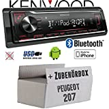 Peugeot 207 - Autoradio Radio Kenwood KMM-BT204 - Bluetooth | MP3 | USB | iPhone - Android - Einbauzubehör - Einbauset