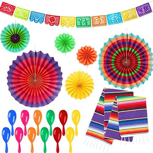 iesta Party Lieferungen Mexikanischen Neon Maracas Mexikanischen Tischläufer Mehrfarbig Papier Fans Große Kunststoff Papel Picado Banner für Fiesta Party Dekoration ()