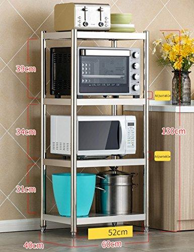 HWF Etagères de cuisine Étagère de cuisine en acier inoxydable 4 couches Ensemble de four à micro-ondes Étagère de rangement Étagère à étagère Maison ( Couleur : 60 cm )