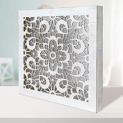 -Mandala de Pared Calada, Fabricada artesanalmente en España- Mandala 3D Cuadrada Pintada a Mano- Modelo Mosaico 120 (Blanco Envejecido, 50X50)
