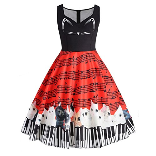 OverDose Damen Cat Musical Note Sleeveless Kleid Vintage Spitzenkleid drucken Cocktail-Abendkleid (Crew Sleeve Frühling Long)