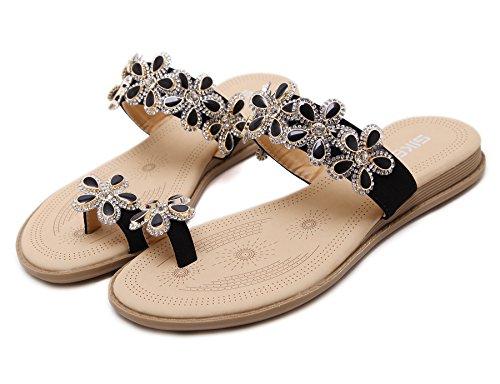 Fortuning's JDS sandales mode d'été classiques pantoufles pour les femmes Noir