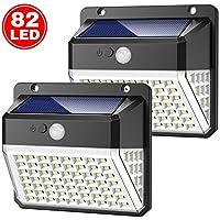 Luce Solare Esterno, Yacikos 82 LED Lampada Solare con Sensore di Movimento Luci Solari da Parete Impermeabile 2000mAh Illuminazione Solare LED con 3 modalità per Giardino [2 Pezzi]