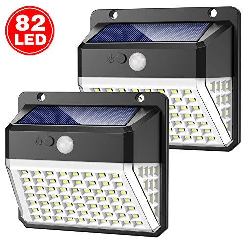 Solar Lights Outdoor, Yacikos Super Bright 【270º Illumination】 82 LED Solar Security Lights Motion Sensor【2000mAh】Solar Powered Lights Waterproof Solar Wall Lights with 3 Modes for Garden, 2 Pack
