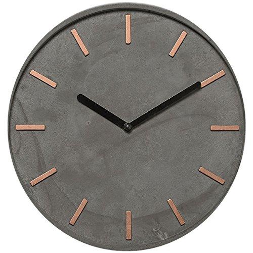 LebenStil Design Beton Wanduhr Küchenuhr Bürouhr Grau Kupfer 28cm groß rund schwarze Zeiger