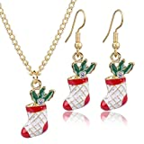 Yazilind Socken Halskette und Ohrringe Schmuckset Vergoldung Damen Ohrringe Anhänger Halskette mit 3A Zirkonia Weihnachten Geschenk