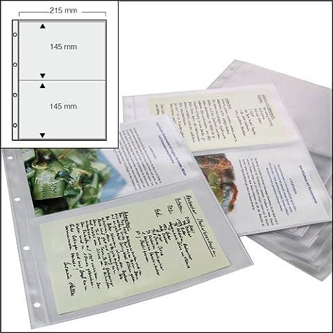 100X Safe Koch Recetas/Back Recetas de colección Fundas DIN A4NR. 5474–100–con 2bolsillos DIN A5–215x 148mm–espacio para hasta 400Recetas, con agujereado universal–Cristal Claro–transparente–sin plastificantes de