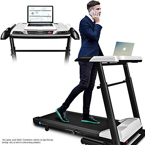 Deskfit innovatives 2in1 Profi Office Laufband mit höhenverstellbarem Schreibtisch DFT500, App kompatible Bluetooth-Konsole, klappbares Schreibtisch-Laufband by Sportstech für zu Hause oder fürs Büro