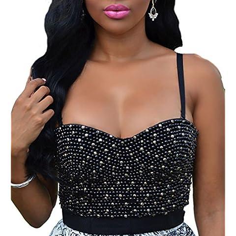 Bustino donna top glamour strass elegante corsetto imbottito sexy corpetto