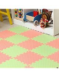 9PCS Alfombra Puzzle para niños Alfombra Desmontable Infantil para Jugar Ejercicio Yoga Sala de juegos EVA espuma de decoración de la habitación de los niños adecuado para su uso en interiores y exteriores 30 x 30 x 1, 0 cm (puntos verdes)