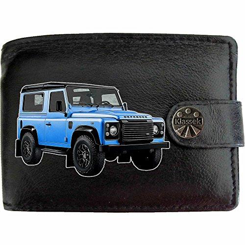 LandRover Defender image sur KLASSEK Hommes RFID Portefeuille Porte-monnaie Réel Noir Cuir véhicule voiture cadeau d'accessoire avec boîte en métal produit Land Rover Non officiel