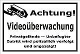 Video-Überwachung Schild - Achtung Videoüberwachung - Privatgelände – 30x20cm mit Bohrlöchern | stabile 3mm starke PVC Hartschaumplatte – S00348-007-A – Kamera-Überwachung +++ in 20 Varianten erhältlich
