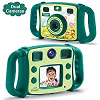DROGRACE Kids Camera Dual Selfie Cameras 1080P HD Digital Video Camera Gift for Boys Girls Birthday Holidays with 4X Zoom, Flash, Built-in Microphone, Speaker and Shockproof Handles - Green