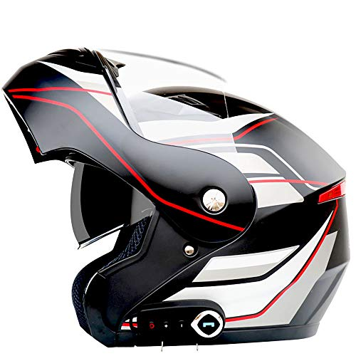PANLISONG Bluetooth-Motorradhelm Für Erwachsene, Modulares Flip-Front-Design, Stereoanlage, Anrufbeantworter, Musik, DOT-Sicherheitszertifizierung,XXL:63cm~64cm
