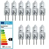 Heitronic 10 Stück Lampe Halogen Stiftsockel 20 Watt G4 Xenon-Füllung 12 Volt Birne Leuchte 20W 12V