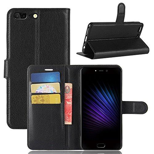 Handyhülle für Leagoo T5 95street Schutzhülle Book Case für Leagoo T5, Hülle Klapphülle Tasche im Retro Wallet Design mit Praktischer Aufstellfunktion - Etui Schwarz