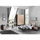 Lomadox Jugendzimmer Komplettset massiv schwarz, Birke natur lackiert, 90x200 cm Jugendbett mit Nachttisch, 150cm Kleiderschrank 3-trg, Schreibtisch und Rollcontainer