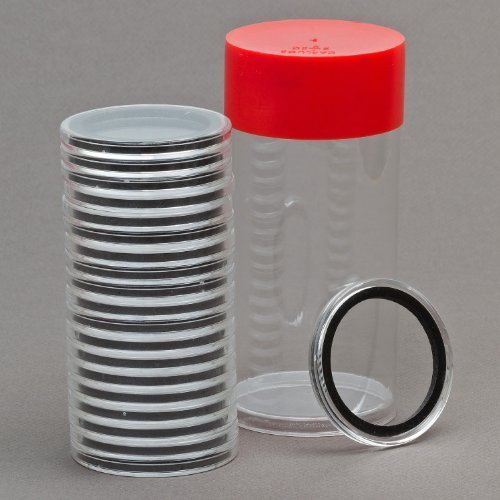 2 Cap-Tubes & 20 Black Ring 30mm Air-Tite Coin Holder Capsules for Seated Franklin Kennedy Half Dollars by Air-Tite
