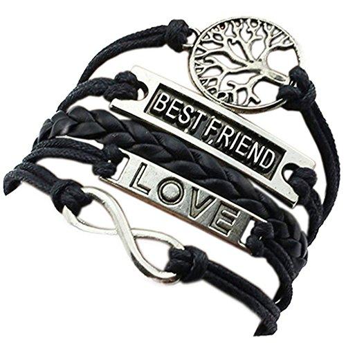 HITOP Fashion Vintage Cool Charms Damen Leder Bronze Baum des Lebens LOVE Best Friend Armband Lederarmband Bracelet mit Charm Anhänger Geschenk Gift (schwarz) (Beste Pop Art Kostüme)