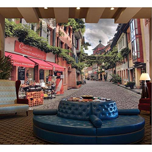 Wuyyii Europäische Straße Tapete 3D Fototapete Für Café Tv Rückwand Papiere Wohnkultur 3D Landschaft Tapeten Gemälde-280X200Cm