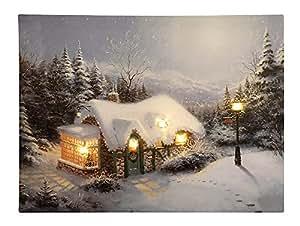 bild weihnachtshaus in den bergen mit led beleuchtung weihnachten leinwand wandbild 30x40cm. Black Bedroom Furniture Sets. Home Design Ideas