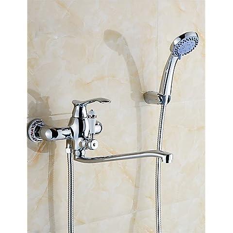 KISSRAIN® Mueble de pared de una sola manija de dos agujeros lavabo-ducha grifo de latón sólido cromado acabado mezclador bañadores grifos K1757