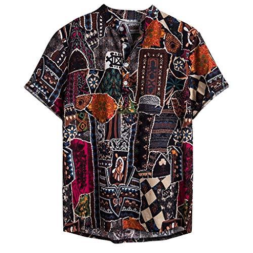 Camicia hawaiana della di stampa del cotone manicotto bicchierino etnico dell'uomo a maniche corte in stampato da uomo(mulitcolor+l)
