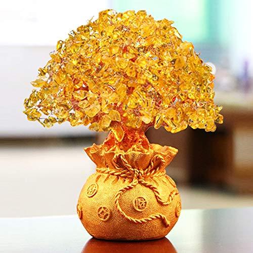 HEEGNPD Glück Vermögen Reichtum Chinesisches Gold Kristall Glück Geld Vermögen Baum Innenministerium Dekoration Tisch Ornamente,2