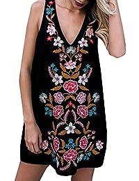 LILICAT Mujeres V-cuello sin mangas Mini vestido (XL)