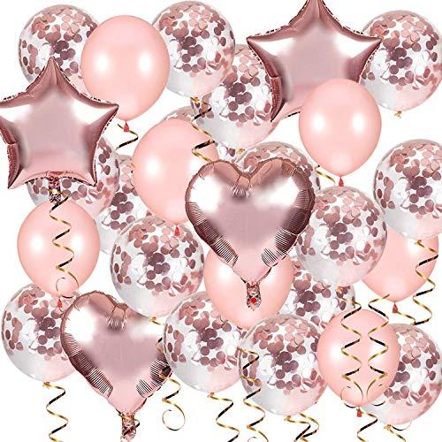 Rose Gold Luftballons Konfetti Ballons,AivaToba Latexballons Helium Ballons Herzluftballon Herzballons für Geburtstag, Baby-Dusche, Hochzeit Dekoration, Party Deko