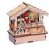 Weihnachtsdeko Holzhütte Weihnachtsmarkt aus Holz - LED beleuchtet - Holzschmuck - Weihnachtsdekoration aus Holz - Häuschen Weihnachten - Weihnachtsmarktbude - Weihnachtsdorf