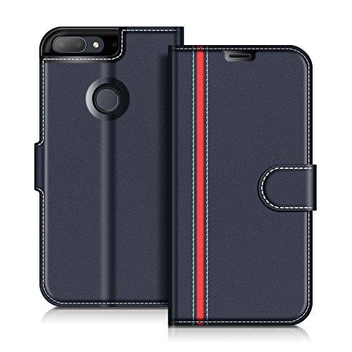 COODIO HTC Desire 12+ Hülle Leder Lederhülle Ledertasche Wallet Handyhülle Tasche Schutzhülle mit Magnetverschluss/Kartenfächer für HTC Desire 12+, Dunkel Blau/Rot