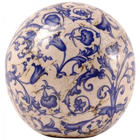 Esschert Design Boule décorative, boule de jardin en céramique Bleu/blanc différentes tailles 13cm Anzahl: 1 Stück