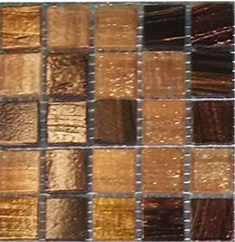 10x10cm Sample Golden Star Tigers Eye Glass Mosaic Tiles Sheet MT0062