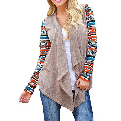 Schuhe Billig Plus Größe (Sommer Damen Cardigan Geometrische Spleiß mit Aufdruck Pullover Mantel Strickmantel Strick Loose Strickjacke Kimono Outwear Tops (XL,)